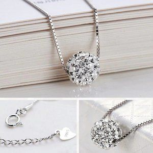 NEW 925 Sterling Silver Diamond Ball Necklace